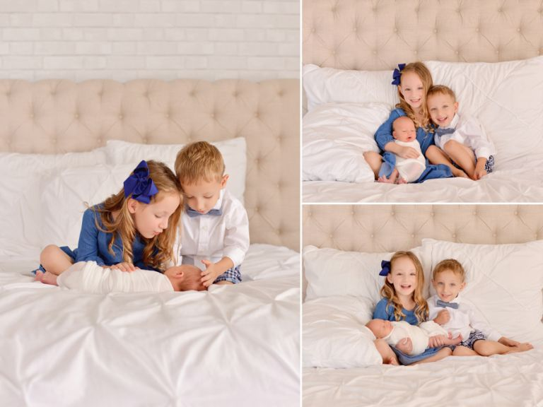 Fun happy family newborn session with 3 kids. New baby boy. Natural relaxed newborn session in Tampa, FL.