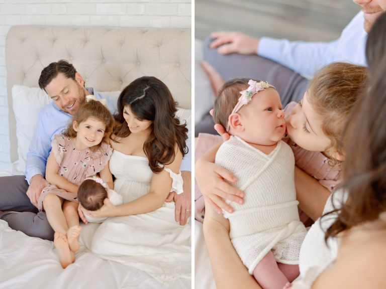 Natural studio newborn session of family with two girls