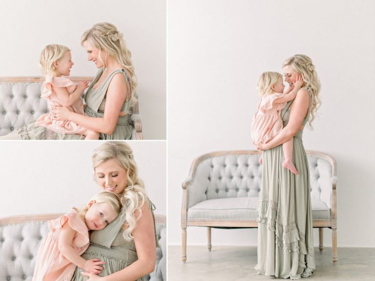 Mom & baby get natural, light & airy portraits done in bright white studio in Denver CO.
