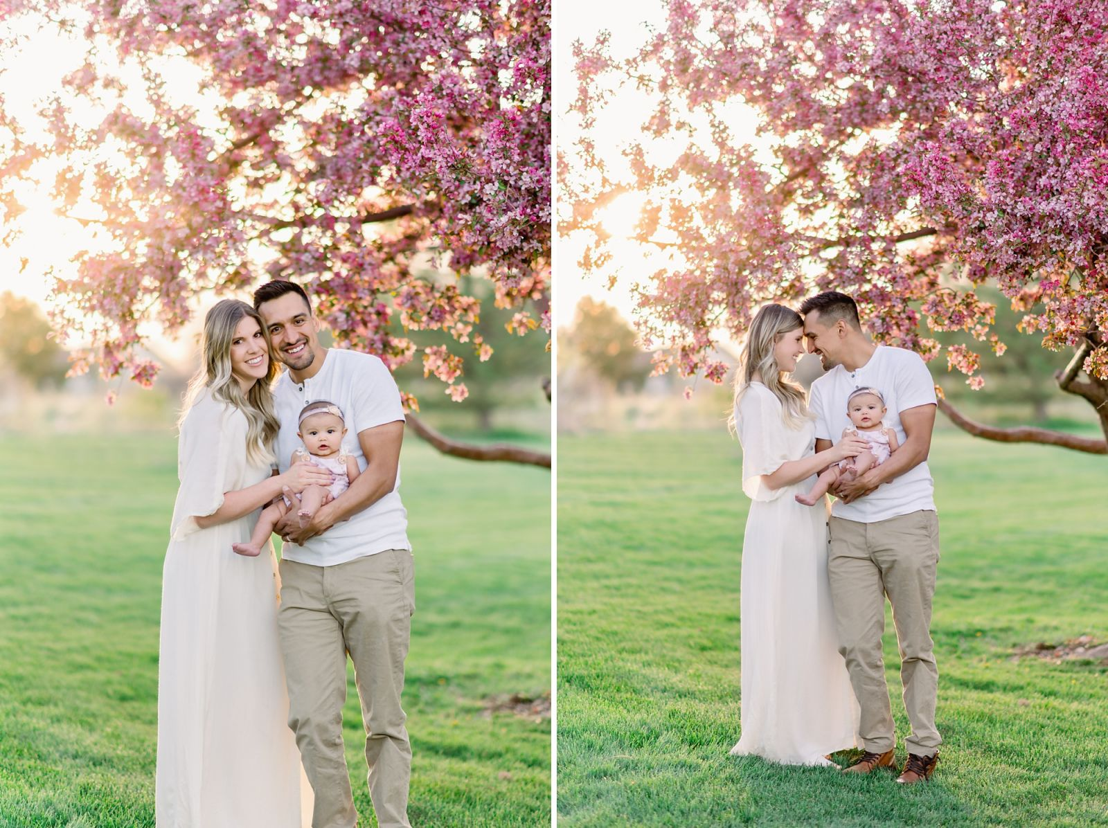 A new family of 3 gets family photos taken in front of the famous cherry blossoms in Denver, Colorado.